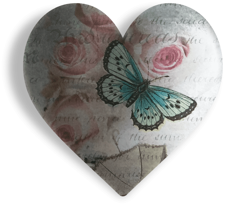Blue Butterfly Pink Roses